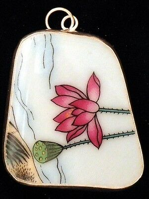 Ming/qing Dynasty Chinese Antique Porcelain Shard Water Lily Relic Vtg. Pendant