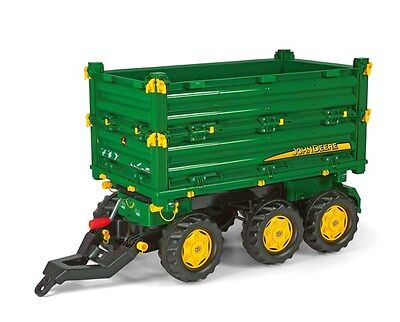 New Rolly Toys Pedal Tractor John Deere Multi Trailer 3-Way BIG Tipping Trailer