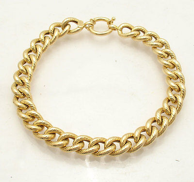 Textured Curb Cuban Link Bracelet Real 14K Yellow Gold FREE SHIP ALL SIZES