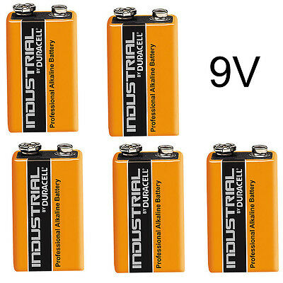5 x DURACELL INDUSTRIAL 9v PP3 MN1604 BLOCK ALKALINE BATTERIES REPLACES PROCELL