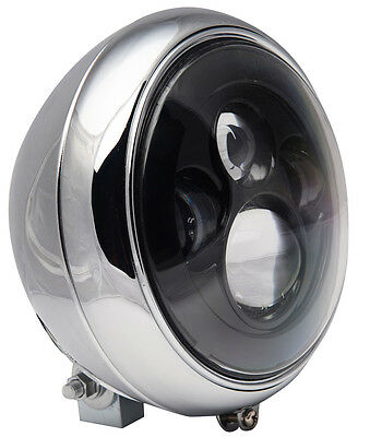 "7"" Motorcycle Black Projector Daymaker LED Light Bulb Headlight Bucket Assembly"