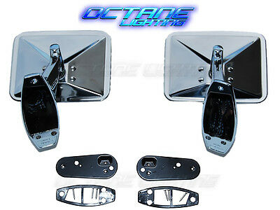 70 71 72 Chevy Truck Square Rectangle Chrome Outside Rearview Door Mirrors Pair