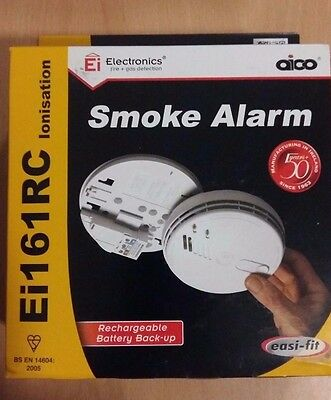Aico Mains Smoke Alarm Detector Rechargeable Battery Backup Ionisation Ei161RC