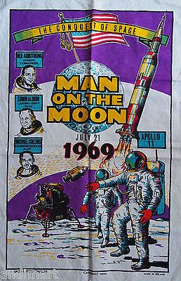 1969 Man On The Moon - Apollo 11 - 1960s Retro Linen Tea Towel - Ship Worldwide
