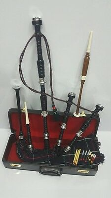 Great Highland Bagpipes Rosewood Silver Amount/Scottish Bagpipes with Hard Case