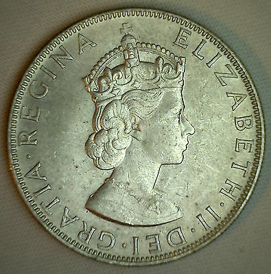 1964 Silver Bermuda One Crown Sized Coin Almost Uncirculated Lion