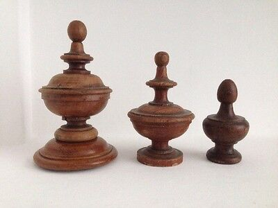 3 Antique French Turned Wood Finials