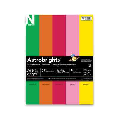 Neenah Astrobrights Envelope Assortment, Assortment 1, 25 Count, 9 X 12 Inches