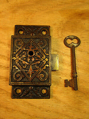 Antique Victorian Eastlake INTERIOR Surface Mount Cabinet Cupboard LOCK Latch
