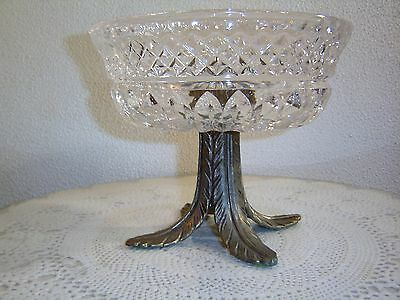 Gorgeous Vintage Crystal Console Bowl With Brass Pedestal