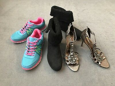 Joblot 3 Pairs Of Womens Boots, Trainers & Sandals - All UK Size 8