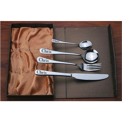 Personalised Engraved Family Adul Cutlery Set Gift Box Kid Birthday Christening