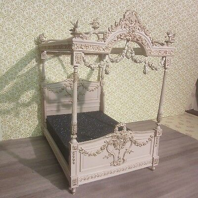 1/12 scale Dolls House French 4 poster bed 12th scale cream & gilt finish  AD01