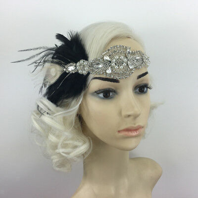 Vintage Crystal Black Feather Headband 1920s  Women Hair Band