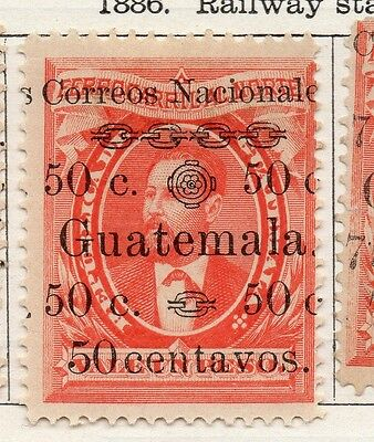 Guatemala 1886 Early Issue Fine Mint Hinged 50c. Surcharged 107920