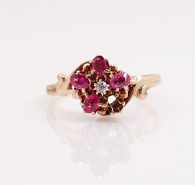 Antique c1900 Victorian Diamond Ruby Solid Gold Ladies Ring For Restoration