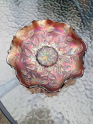 Fenton Carnival Glass Bowl, Holly and Berry pattern with 8 ruffles