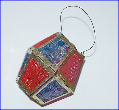 Antique folding latern ornament, candle holder, Germany ca. 1910 (# 6469)