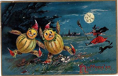 Halloween Postcard Witch Chasing JOL Scarecrows - Tuck Series 150 Embossed