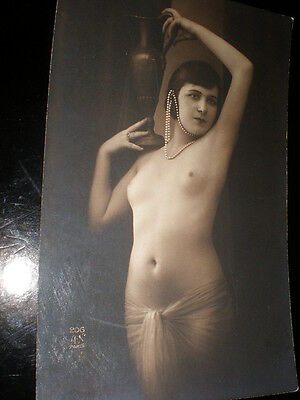 Old postcard nude woman pearls and veil French Paris AN 206 c1910s - 1920s