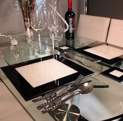 New Set Of Fou Black Glass Placemats With Swarovski Crystals Dining DInner Table