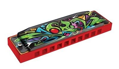 """Hohner Model 145RDBX /""""Tagged/"""" Red Dragon Diatonic Harmonica in Key of A"""