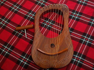 New Lyra Harp 10 Strings Rose Wood/lyre Harp 10 Strings Rosewood + Carrying Case