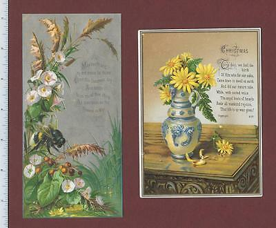 1890's Victorian Christmas Greeting Cards: Yellow Daisies GIANT Bumblebee Poems
