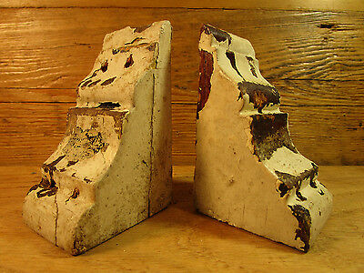 Antique Small Wood Corbels Gingerbread Shabby Old Cottage Chic Vintage Brackets
