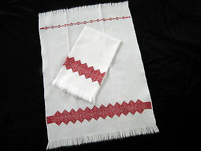 2 Antique Vintage Swedish Huck Linen Turkey Red Hand Embroidered Towels