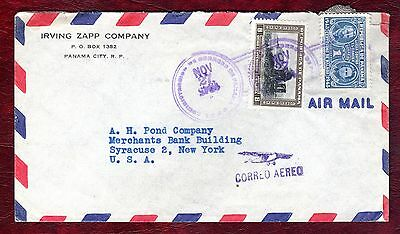 PANAMA STAMPS- Marie Curie (1945) stamp on airmail cover to USA, 1945