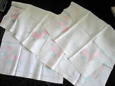 """2 Antique """"Old Bleach"""" Damask Irish Linen Bath Length Towels Painted Pink Roses"""
