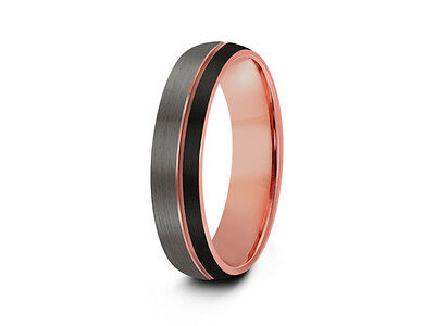 6MM Black & Rose Gold Tungsten Wedding Band,Engagement,Brushed,Three Tone,Dome