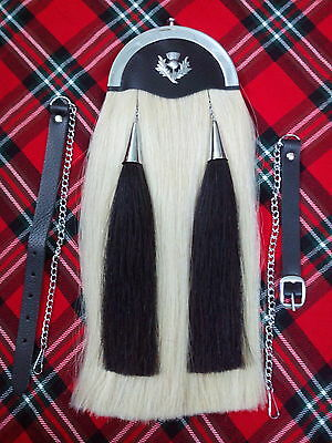 T.cnew Horse Hair Sporran Original + Plain Cantle/kilt Sporran White Horse Hair