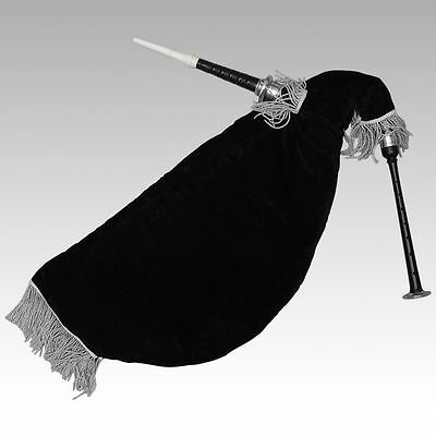 Scottish Goose Practice Bagpipe New Black Silver Mounts Black Velvet Bag