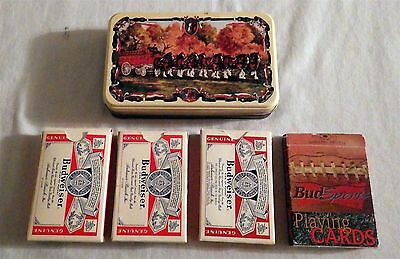 Lot of 6 Vtg Playing Cards Anheuser-Busch Budweiser  2 Decks in Clydesdales Tin