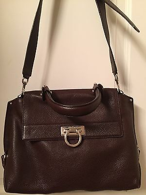 f1efa6668f2 SALVATORE FERRAGAMO SOFIA Medium Maroon Handbag W Strap Kelly-Style   2250+tax