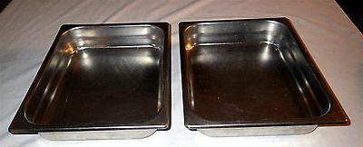 Set of 2 Seco-Ware #287 1/2 Stainless Buffet Steam Table 32.4 oz  Insert Pans