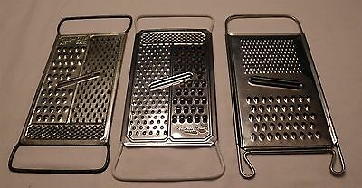 Lot of 3 Vintage Metal Graters Shredders Stainless All In One Hong Kong Sweden