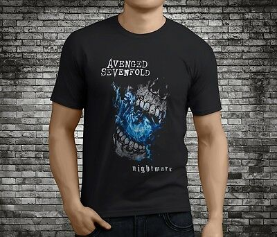 New AVENGED SEVENFOLD A7X Nightmare Metal Rock Band Black T-Shirt Size S-3XL