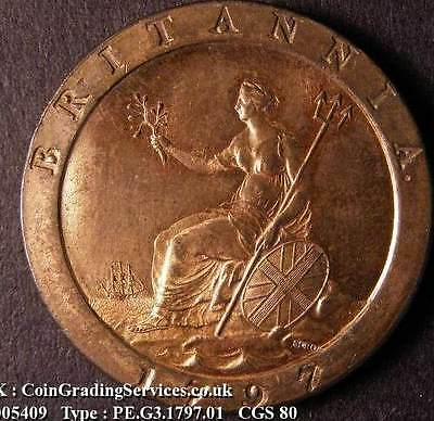 1797 Choice UNC George III Cartwheel Penny CGS 80. Spink Value £1250.