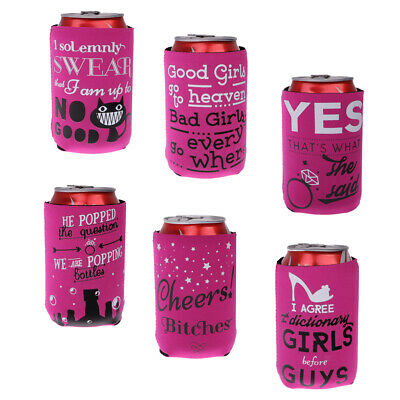 6pcs Stubby Beer Soda Can Cooler Sleeve Hen Night Bride to Be Girls Party
