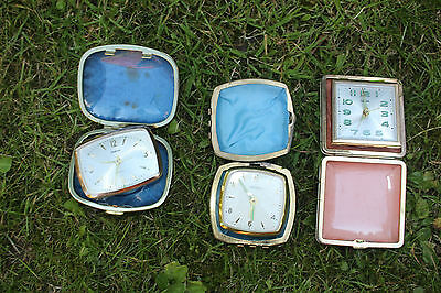 Joblot 3 old clocks Travelling alarms  Upcycle Steampunk Not working VTG C5