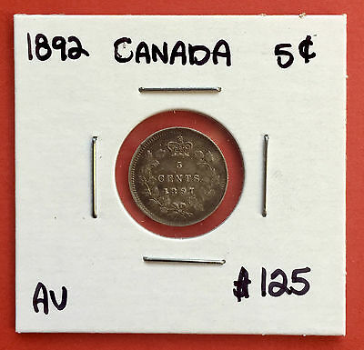 1897 5 Cent Canada Silver Coin 9365 Trends $125  - AU