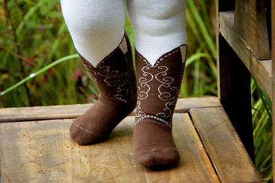 Itty Bitty Brown Cowboy Boot Tights Bootzies For Your Baby Cowgirl Sz 0-6 Mos