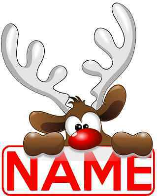 Iron On Transfer / Sticker - Personalised Christmas Reindeer - Santa Sack Name