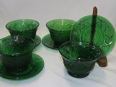 Hocking Sandwich Glass Forest Green Custard Cups Bowls & Liner Plates -sets of 4