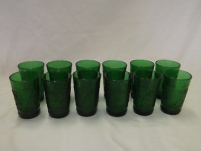 Hocking Sandwich Glass Forest Green Juice Tumblers Glasses sold in sets of 12