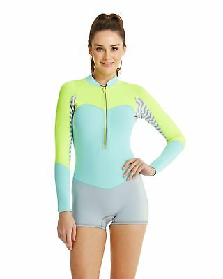 NEW ROXY™  Womens XY 2mm GBS Front Zip Long Sleeve Spring Suit Wetsuit Womens Su