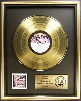 KISS Unmasked LP Gold RIAA Record Award Casablanca Records To Ace Frehley